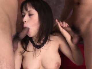 Threesome extreme for busty Asian woman Kyouko Maki