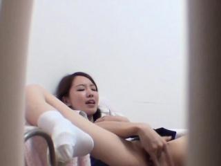Petite asian rubs pussy
