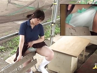 Japanese girl humping on the bench