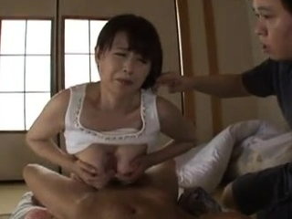 Japanese titjob makes his cock cum hard