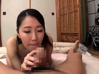 A topless Frea gives a hot handjob and blowjob