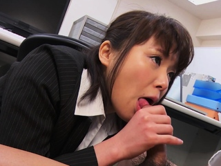 Japanese secretary, Haruka Miura sucks dick, uncensored