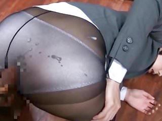 Blue 100% Nylon panties and Pantyhose Cumshot
