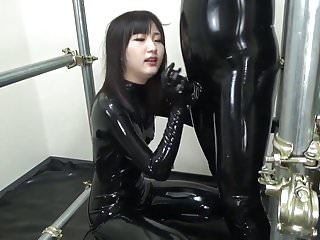 Asian blowjob in full rubber