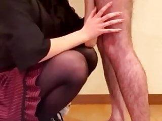 Sticky blowjob by asian partner