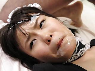 Japanese maid, Ai Mashiro enjoys a foursome, uncensored