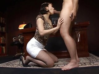 Japanese working woman's lustful fully clothed fuck