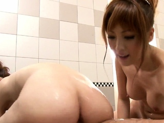 Uncensored Japanese soapland FFM threesome in HD